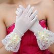 Slonovinová krátká průsvitná hala Beading Finger svatební rukavice