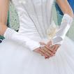 Svatební rukavice Ruched Romantic podzimní pláž Taffeta