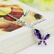 Módní fialová vykládaná diamantová hmyz stříbrná náhrdelník