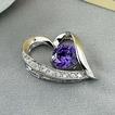 Fialové stříbrné srdce ve tvaru vykládané diamantové šperky ženského náhrdelníku