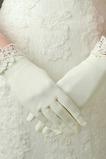 Ivory Vhodné Satin Lace krátké svatební rukavice