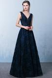 Elegantní V-krk Délka podlahy A-Čára Hluboký výstřih do V Promové šaty