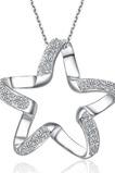 Klíčenka Ženy Stříbrná Pětcípá hvězda Inlaid diamantový náhrdelník