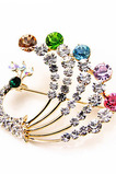 Temperament Páv barevný vykládaný diamantový brož