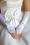 Bezešvé dlouhé bílé vintage elastické svatební rukavice