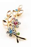 Inlaid diamant Hot sale Ženy Příslušenství Crystal Leaf Brooch