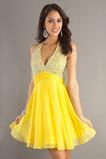 Krátký A-Čára Šifón Přírodní pas Lištování Šik Žlutá Promové šaty