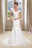 Plášť Kaple Vlak Přikrýt Zip nahoru V-krk Skládaný živůtek Svatební šaty