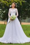 Tyl Bateau čiré zadní Dlouhý rukáv Elegantní Zahrada Svatební šaty