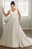 Plus Velikost Květina Bílá Vyměnitelná křídla Kaple Vlak Svatební šaty