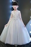 Tyl Šperk Střední Formální Podzim Přirozeného pasu Květinové dívky šaty