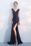 Přírodní pas Flitry Hluboký výstřih do V Elegantní Promové šaty