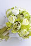 Bílá kamélie zelená korejská nevěsta simulace květiny pro svatbu v ruce