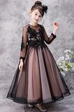 Střední Svatba Formální Iluze Dlouhý rukáv Tlačítka Květ dívka šaty