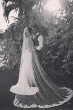 Svatební závoj Venkovní krajková látka bílá s hřebenem velikosti lze přizpůsobit