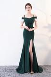 Satén Dlouhý Elegantní Trojúhelník Krátký rukáv Promové šaty