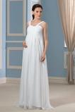 Jednoduchý Trojúhelník záhyb Šifón Široká ramínka Svatební šaty