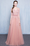 Přírodní pas Elegantní Nášivky Střední Bateau Krajka Večerní šaty