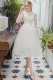 Krátký Šperk Dlouhé rukávy Bezzadu Přírodní pas Svatební šaty