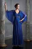 Vysoký pasu V-krk básník rukávy Tmavě modrá Společenské šaty