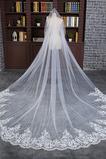 Svatební závoj slonoviny s hřebenem zimní dlouhé krajkové látky