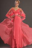 Zamést vlak Luk V-krk Pláž Moře dívka raglánový rukáv Promové šaty