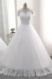 Krátký rukáv A-Čára Zamést vlak Kostel Formální Svatební šaty
