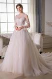 Tyl Kostel A-Čára Formální Dlouhý Bateau Iluze Svatební šaty