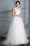 Dlouhý Jednoduchý Přirozeného pasu Střední Krajka Svatební šaty