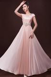Elegantní Zip nahoru A-Čára Krátký rukáv Šifón Společenské šaty