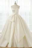 Satén Bez rukávů A-Čára S diakritikou luk Přirozeného pasu Svatební šaty