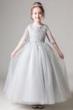 Krátký rukáv A-Čára Nášivky Iluze Krajka Květinové dívky šaty