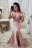 Dlouhý Střední Krajkou Overlay Svatba Přírodní pas Promové šaty