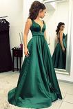 Dlouhý Satén A-Čára Bezzadu V-krk Luk Svatba Promové šaty