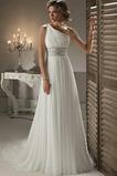 Šik Léto Bez rukávů Šifón A-Čára Korálkový pás Svatební šaty