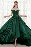 Dlouhý Krátký rukáv Rosný rameno Krajkou Overlay Promové šaty