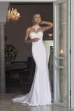 Mořská panna Bezzadu Elastický satén Háček okrajů Svatební šaty