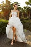 Srdíčko Formální Zip nahoru Organza Asymetrické Svatební šaty