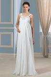 Skládaný živůtek Délka podlahy Šifón Široké popruhy Svatební šaty
