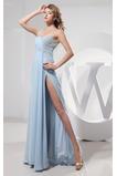 Říše Vysoký pasu Asymetrický krk Elegantní Lištování Promové šaty