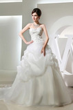Střední Přirozeného pasu Organza drahokamy živůtek Svatební šaty