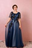 Krajkou Overlay Přikrýt Krátký rukáv Přírodní pas Promové šaty