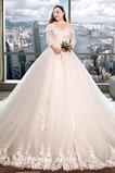 Tři čtvrtiny rukávy Krajka A-Čára Sál Krajkou Overlay Svatební šaty