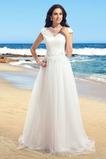 Klenot Víčko A-Čára Nášivky Jednoduché Podzim Pláž Svatební šaty