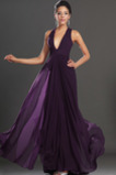 Bezzadu Elegantní V-krk Modřenec Tyl překrytí Říše pasu Večerní šaty