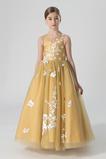 Přírodní pas Krajkou Overlay Drahokam Délka podlahy Květinové dívky šaty