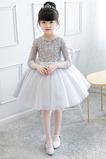 Okouzlující Tři čtvrtiny rukávy Krajkou Overlay Květinové dívky šaty