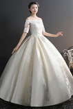 Zašněrovat boty Krátké rukávy T-shirt rukáv Rosný rameno Svatební šaty