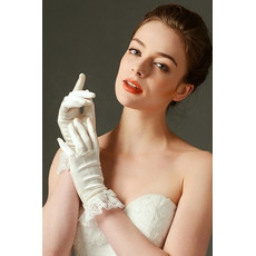 Svatební rukavice Plná prstová krajka Ivory Short Fashion Spring