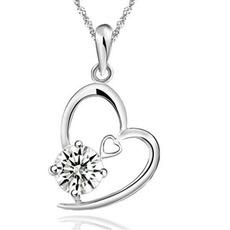 Žlutá fialová křišťálová srdce ve tvaru stříbrné náhrdelník a přívěšek